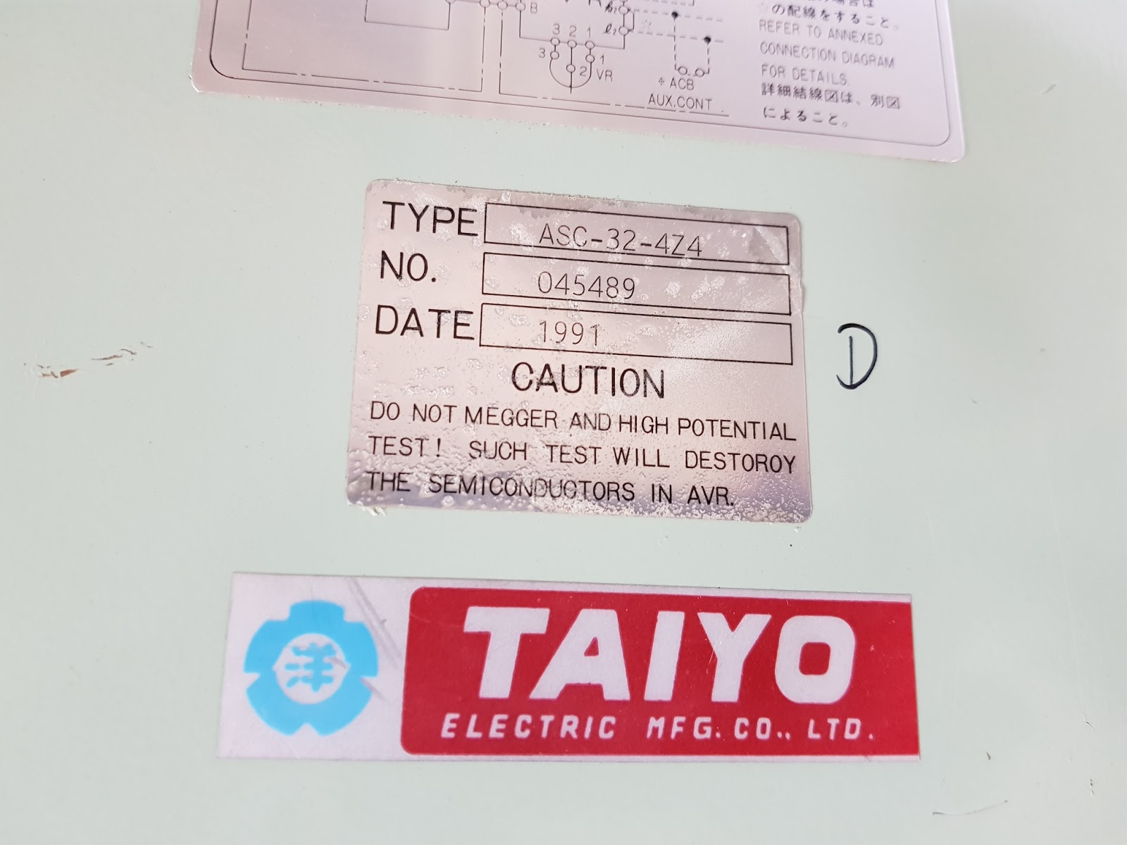 taiyo automatic voltage regulator asc 32 4z4 type asc 32 4z4 serial no 045489 date 1998 1991 1996 mfg by taiyo electric co ltd  [ 1600 x 1200 Pixel ]