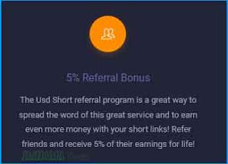 نسبة الاحالة Referrals موقع UsdShort