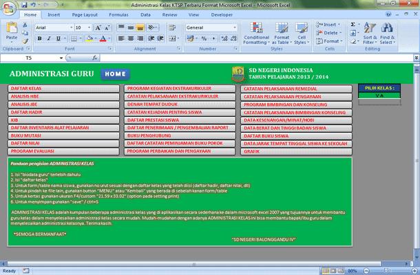 Administrasi Kelas KTSP Format Microsoft Excel