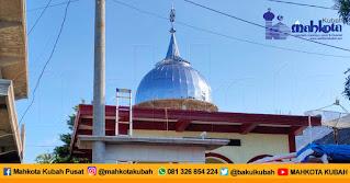 Pemasangan Kubah Masjid Stainless Lombok Timur