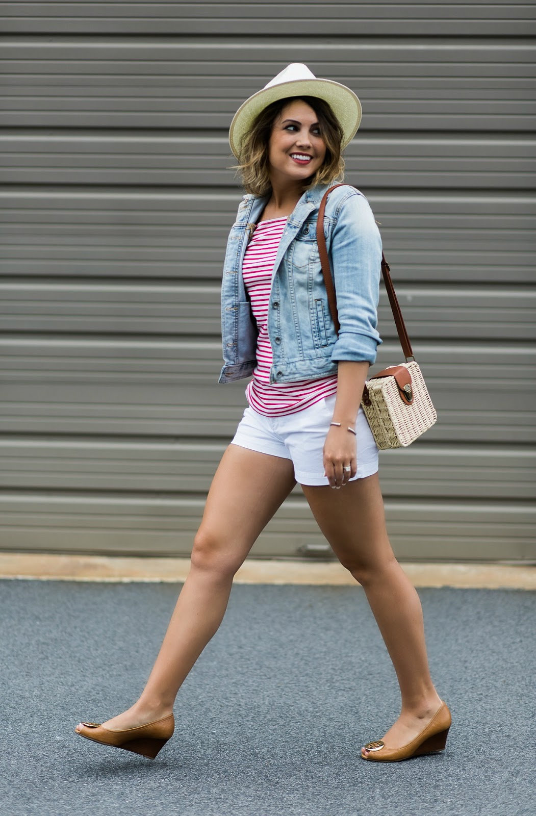 j crew tee, denim jacket, white shorts outfit, tory burch wedges