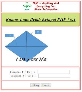 Menghitung Luas Belah Ketupat Menggunakan PHP Dan HTML