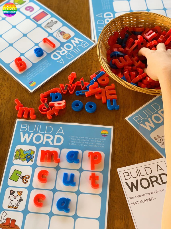 Build A Word Mats - perfect for young children learning to spell CVC words then CCVC, CVCC and CVCe words | you clever monkey