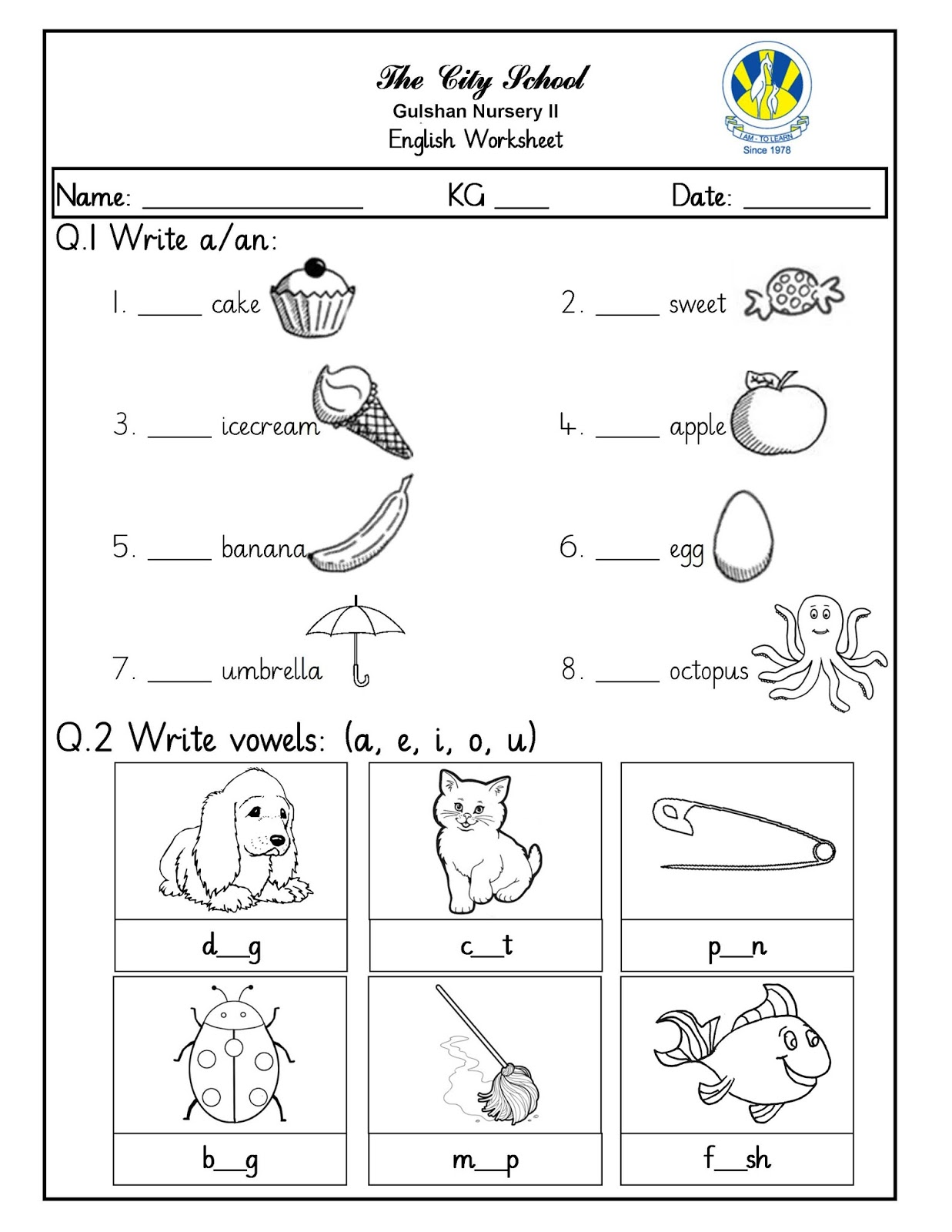 Sr Gulshan The City Nursery Ii English Kuwa And Math Worksheets