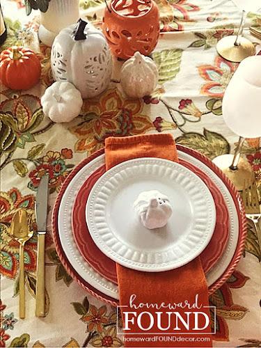 fall, entertaining, tablescapes, decorating, color palettes, color, pumpkins, seasonal, home decor, fall home decor, fall table decor, fall tablescapes, painted pumpkins, paisley print fabric, paisley fall tablescape