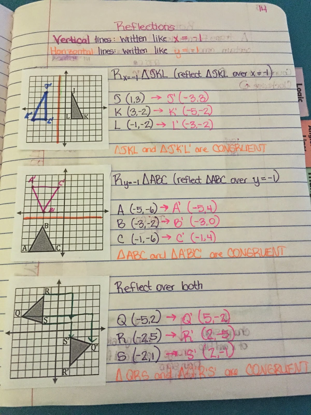 Misscalcul8 Geometry Unit 1 Transformations Interactive Notebook