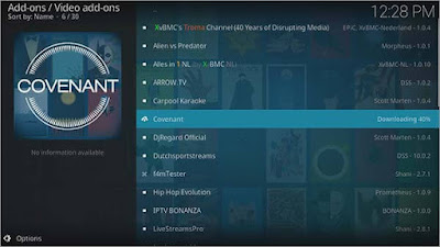 Search and locate Covenant Kodi Addon