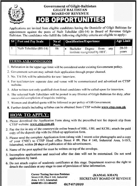 Board Of Revenue Govt Jobs 2020 Naib Tehsildar