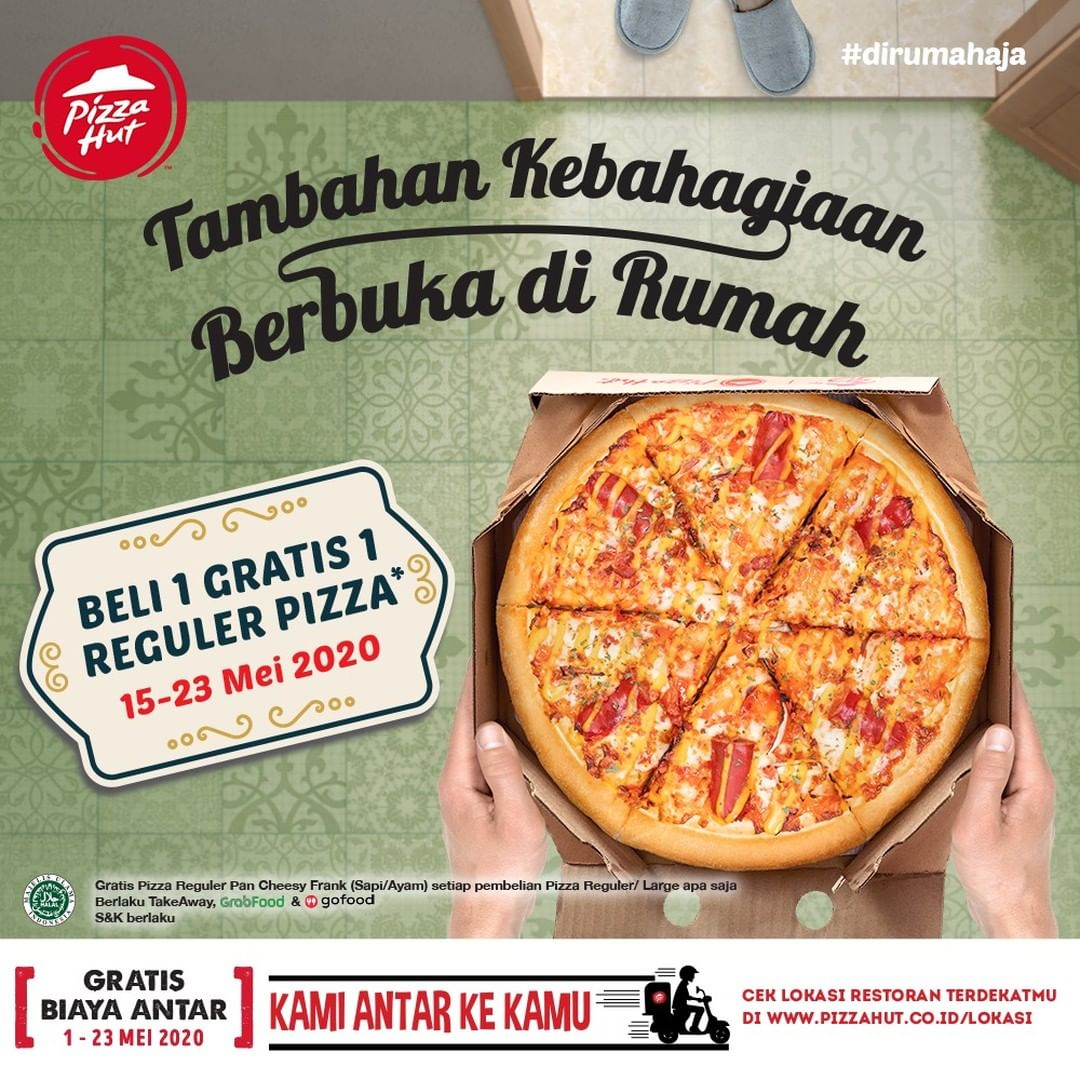 Promo Pizza HUT Beli 1 Gratis 1 Reguler Pan Pizza 15 - 23 Mei 2020