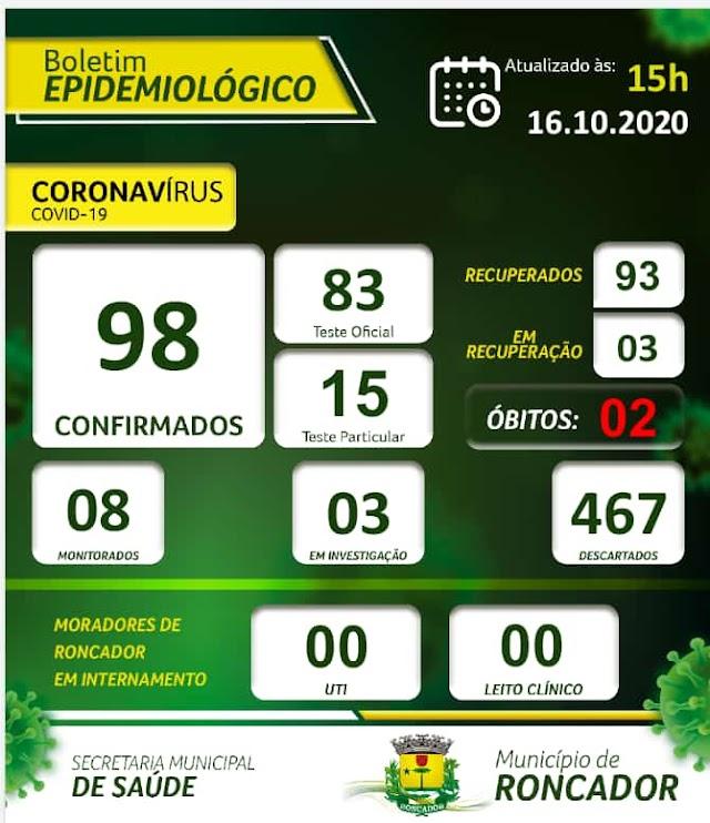 Boletim Epidemiológico de Roncador em 16 de outubro