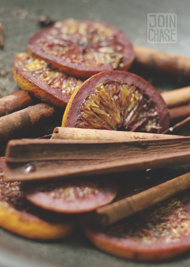 Orange slices, cinnamon sticks, and whole cloves used to make mulled wine in Yangon, Myanmar.