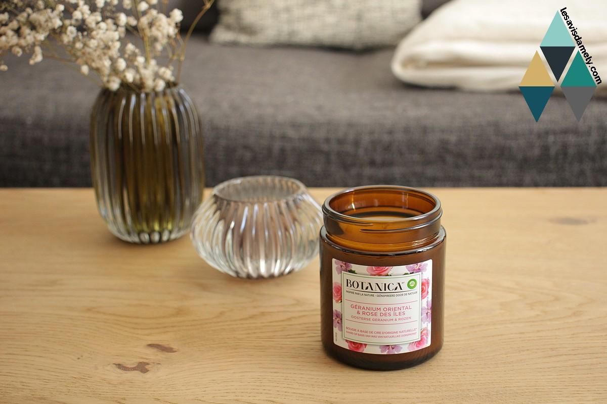 avis et test bougie parfumée géranium et rose botanica