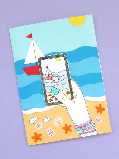 Summer Holiday Beach Scene Notecard Tutorial