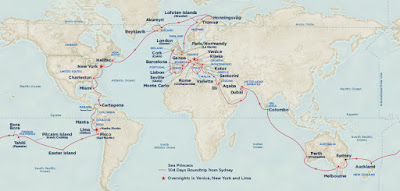 World Cruise Route of Princess Cruises' Sea Princess 2016