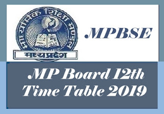 MP Board 12th Class Time table 2019, MP Board Time table 2019, MP Time table,  MP Board HSSC Time table 2019, MP Board Higher Secondary Time table 2019