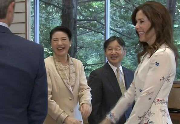 Crown Princess Mary wore VILSHENKO Jerry floral-print silk crepe de chine dress