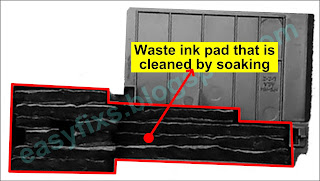 Waste ink pad that is cleaned by soaking