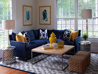 Sectional blue sofa with cushions for L-shaped living room