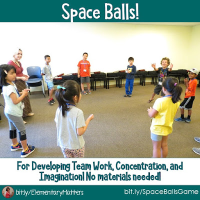 Space Balls: Here's a quick game that children love, that develops team work, concentration, and imagination. Plus, it doesn't require any materials!