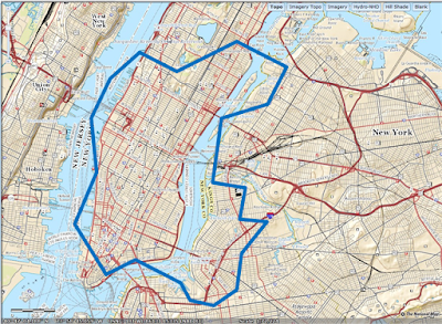 Map of New York with port boundaries.  Base map from USGS.