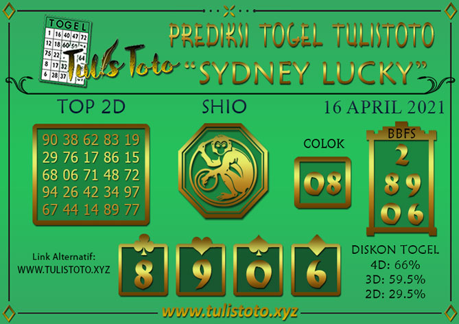 Prediksi Togel SYDNEY LUCKY TODAY TULISTOTO 16 APRIL 2021