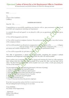 letter of intent for job offer format
