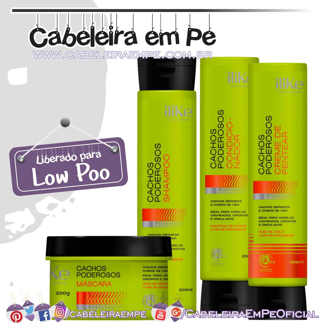 Shampoo, Máscara, Condicionador e Creme de Pentear Cachos Poderosos  - Ilike (Low Poo)