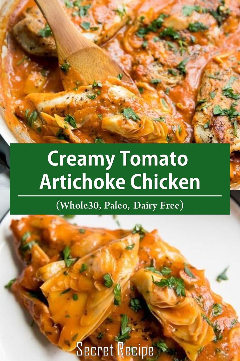 Creamy Tomato Artichoke Chicken (Whole30, Paleo, Dairy Free)