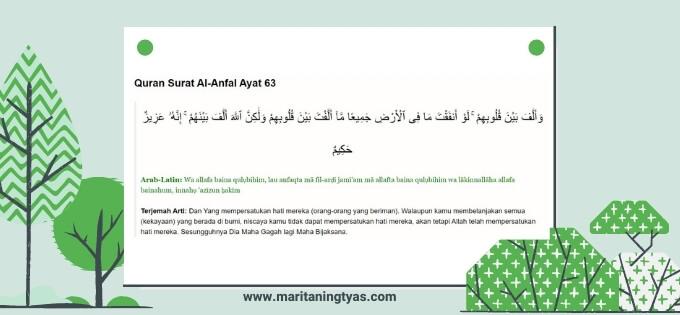 Al Quran Surat Al Anfal ayat 63