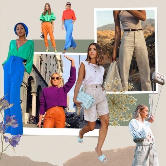Color block y tejidos naturales - tendencias primavera - verano 2021