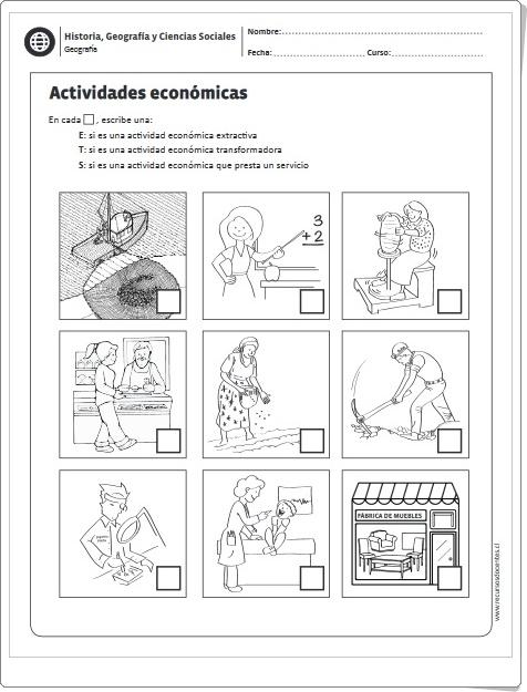 """""""Actividades económicas"""" (Ficha de Ciencias Sociales)"""