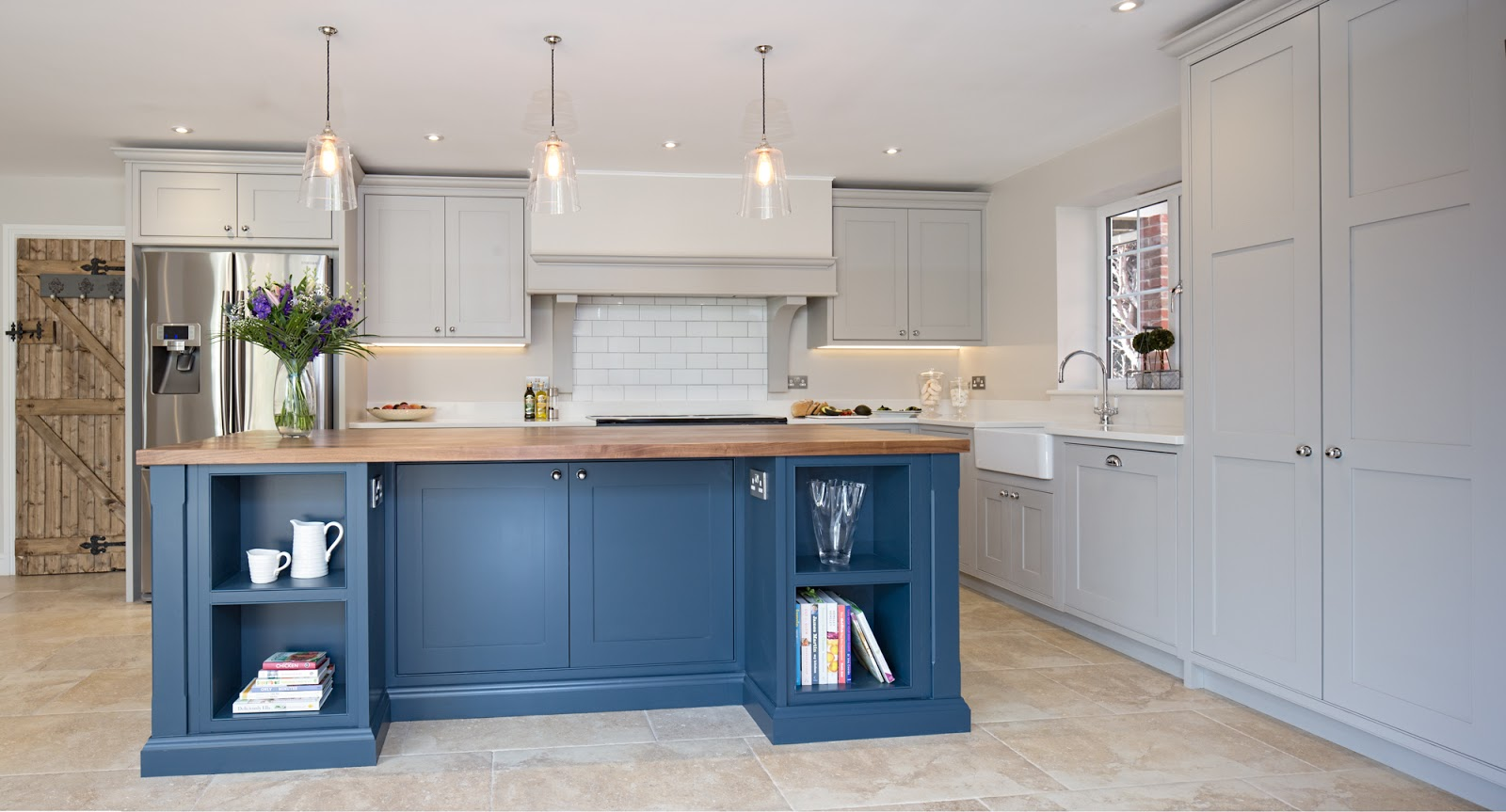 Maple Gray Blue Grey Kitchen