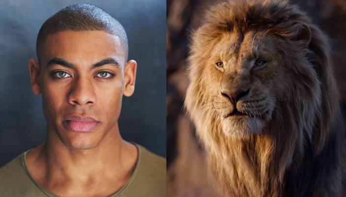 Imagem: o ator Aaron Pierre, um homem negro e magro, com os cabelos raspados e olhos azuis claros, em um fundo preto e ao lado, o personagem Mufasa no filme live-action, um leão com uma enorme juba dourada.