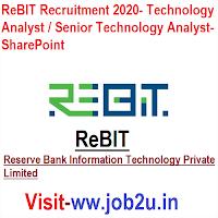 ReBIT Recruitment 2020, Technology Analyst / Senior Technology Analyst- SharePoint
