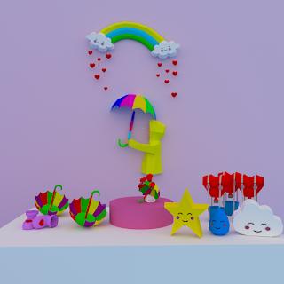 kit chuva de amor papercraft sillhoutte melhor designer papercraft rondipaper