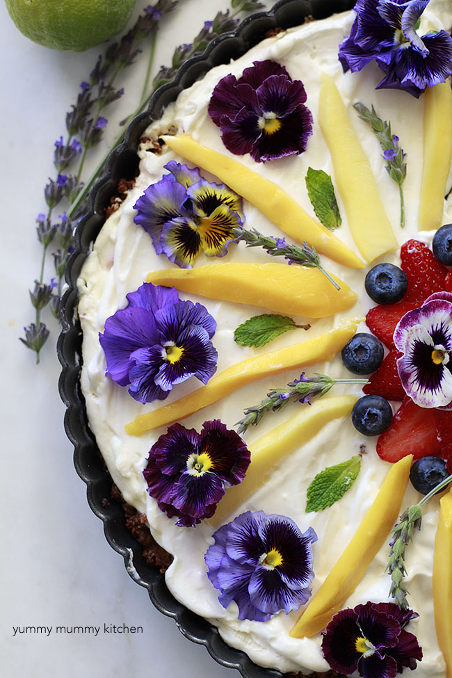 Beautiful healthy breakfast fruit and granola tart