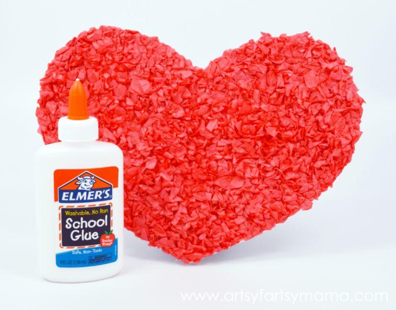 tissue paper heart art
