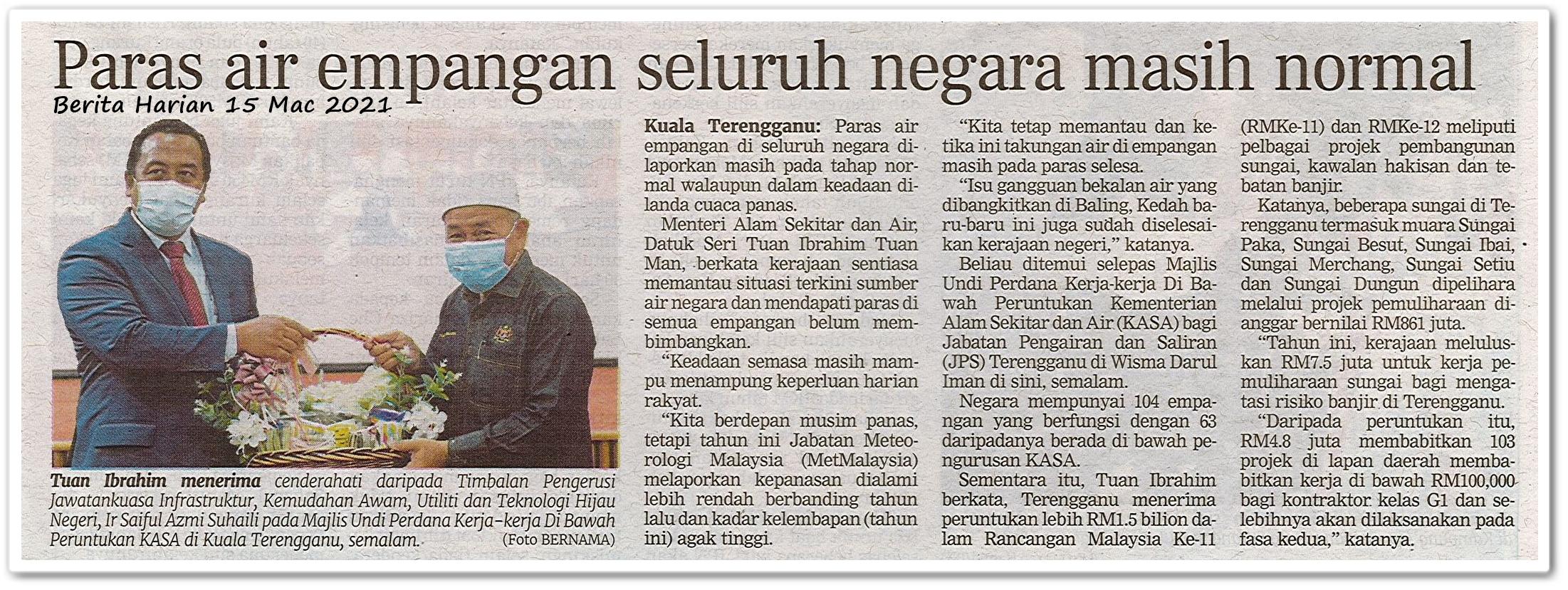 Paras air empangan seluruh negara masih normal - Keratan akhbar Berita Harian 15 Mac 2021