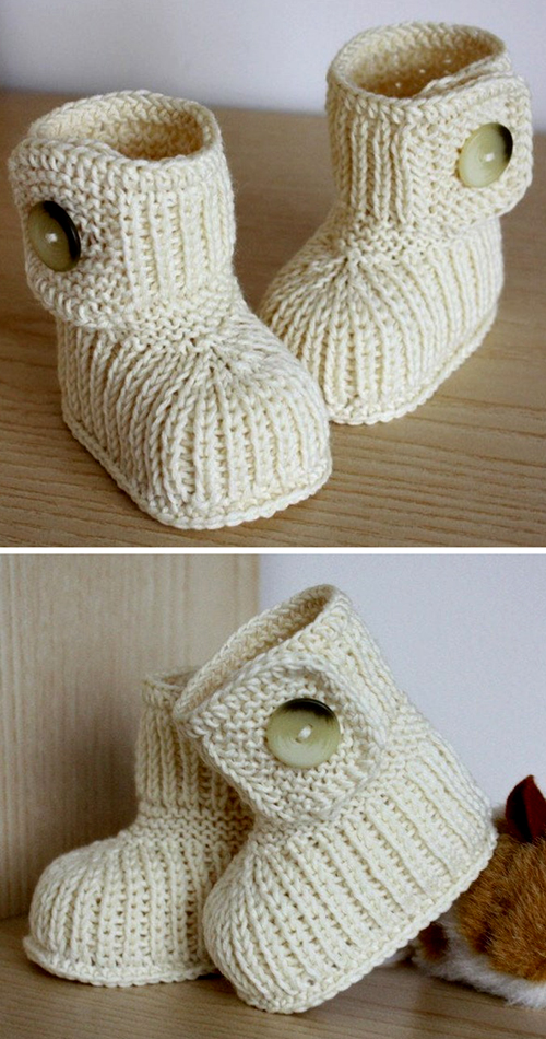 Winter Baby Boots (0-6/6-12 months) - Knitting Pattern