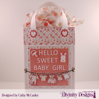 Divinity Designs Stamp/Die Duos: Baby Clothesline, Paper Collection: Baby Girl, Custom Dies: Letter Board, Card Caddy & Gift Bag, Gift Bag Handle & Toppers, Baby Blessings, Scalloped Rectangles, Scalloped Circles