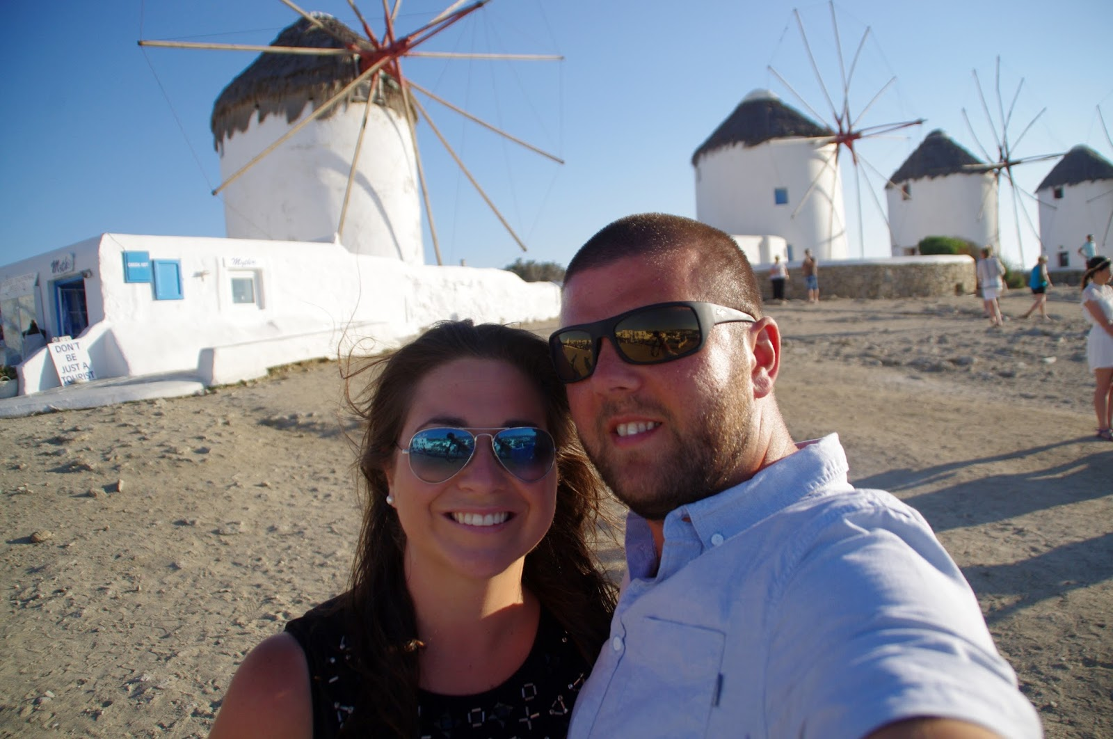 Couple at Mykonos Windmills