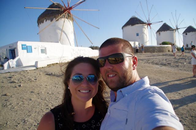 Couple at Mykonos Windmills