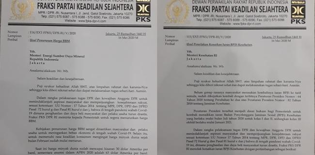 Kirim 2 Surat untuk Pembantu Jokowi, PKS Minta Turunkan BBM dan Batalkan Kenaikan BPJS