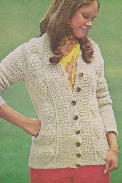 The Vintage Pattern Files: Free 1970's Crochet Pattern - Womens Aran Cardigan