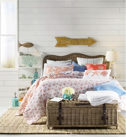 Rattan Storage Trunk Bedroom Decor Idea Coastal Style