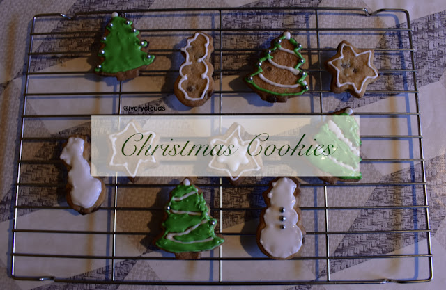 Decorated Christmas Cookies on wire rack