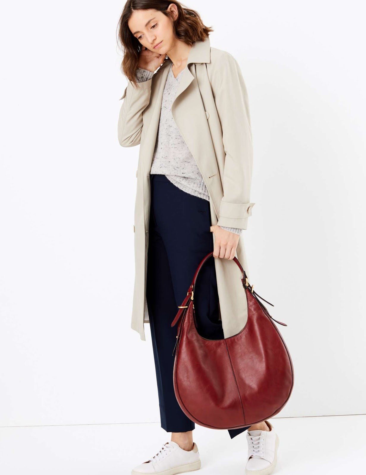 Marks and Spencer leather hobo bag