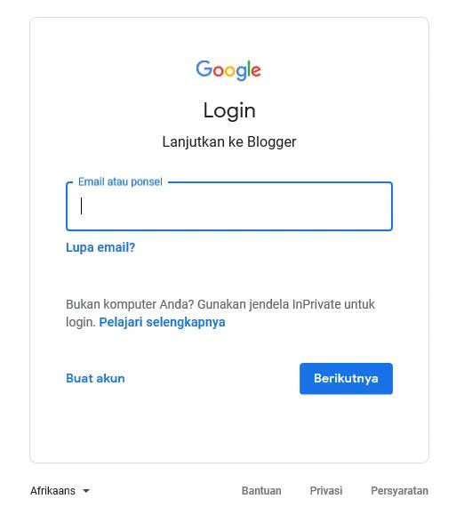 Cara login Blogger dengan akun Gmail