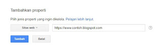 Membuat properti baru di Google webmaster tools