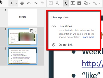 Google Slides - Share a Slide instead of Pasting It